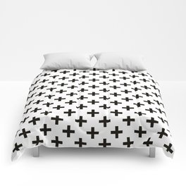 Criss Cross | Plus Sign | Black and White Comforters