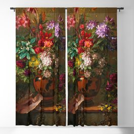 """George Jacobus Johannes van Os """"Still Life with Flowers in a Greek Vase Allegory of Spring"""" Blackout Curtain"""