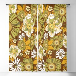 70s Retro Flower Power boho pattern Blackout Curtain