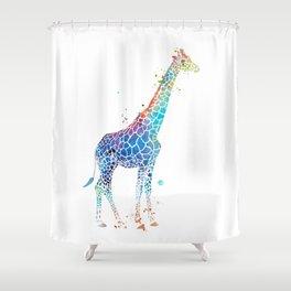 Blue Giraffe Shower Curtain