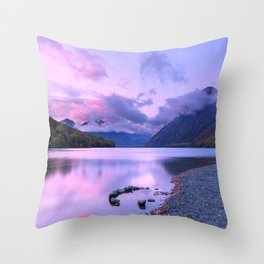 Lake Gunn at sunrise with reflections, Fiordland, South Island, New Zealand Throw Pillow