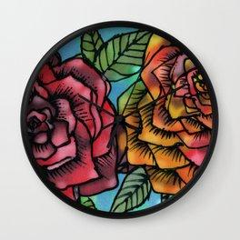 Silk Roses Wall Clock