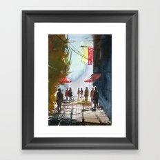 Walk through the street Framed Art Print