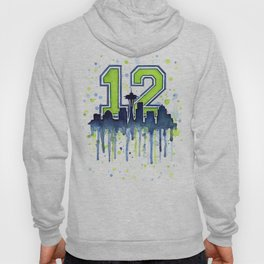 Seattle 12th Man Art Skyline Watercolor Hoody