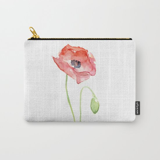 Red Poppy Watercolor Flower Floral Abstract Carry-All Pouch