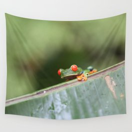 Red eye Frog on leaf Costa Rica Photography Wall Tapestry