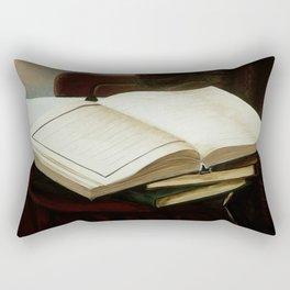Books, acrylic on canvas Rectangular Pillow