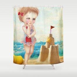 Samantha at the shore Shower Curtain