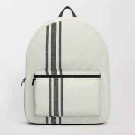 Vintage Country French Grainsack Grey Gray Stripes Cream Background Backpack