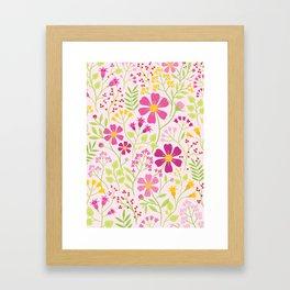 Pink Wildflowers Framed Art Print