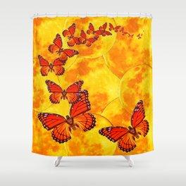Golden Migration Monarch Butterflies Shower Curtain