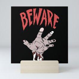 Attention Zombie Hand Halloween Horror Mini Art Print