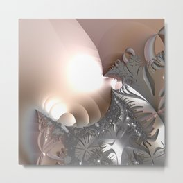 Muted misty colors of a fractal world at dusk light Metal Print