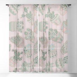 Blush pink mint green rose gold cactus floral Sheer Curtain