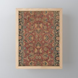Flowery Boho Rug I // 17th Century Distressed Colorful Red Navy Blue Burlap Tan Ornate Accent Patter Framed Mini Art Print