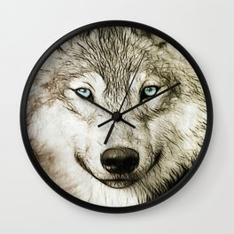 Smokey Sketched Wolf Wall Clock