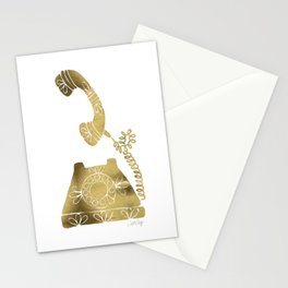 Vintage Rotary Phone – Gold Palette Stationery Cards