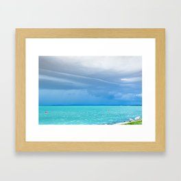 Before summer storm at a turquoise lake Framed Art Print