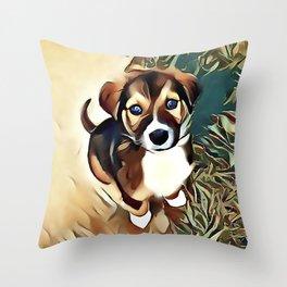 A Saint Bernard Puppy Throw Pillow