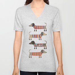 Sausage Dogs in Sweaters Unisex V-Neck