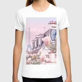Paris with its Eiffel Tower and Magnolias - Vintage Romantic T-shirt