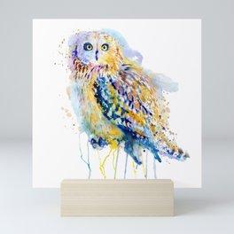 Short Eared Owl Watercolor painting Mini Art Print