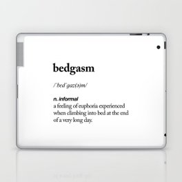 Bedgasm black and white contemporary minimalism typography design home wall decor bedroom Laptop & iPad Skin