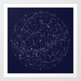 Constellation Map Indigo Art Print