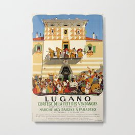 Lugano Vintage Travel Poster Metal Print