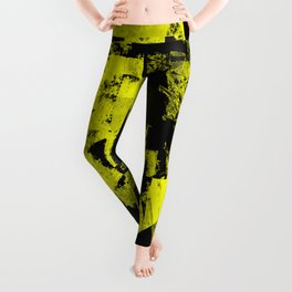 Fractured Warning - Black and yellow, abstract, textured painting Leggings