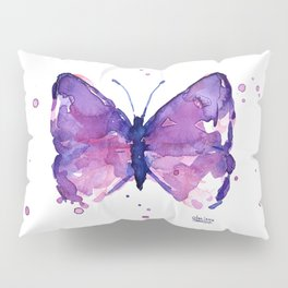 Butterfly Purple Watercolor Animal Pillow Sham