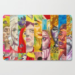 Female Faces Portrait Collage Design 1 Cutting Board