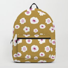 White and pink flowers in yellow Backpack