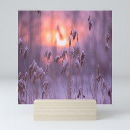 Snowy Reeds Sunset Purple Tone #decor #society6 #homedecor #buyart Mini Art Print
