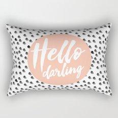 Hello Darling Spots - peach orange, black and white Rectangular Pillow