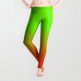 Neon Green and Neon Orange Ombré  Shade Color Fade Leggings