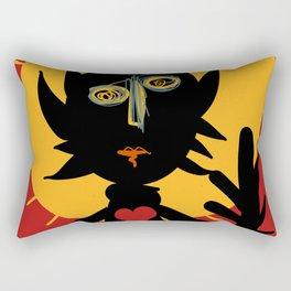 Life is a little man under the sun in a red sky African Art Rectangular Pillow