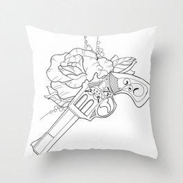 Gun n Rose Throw Pillow