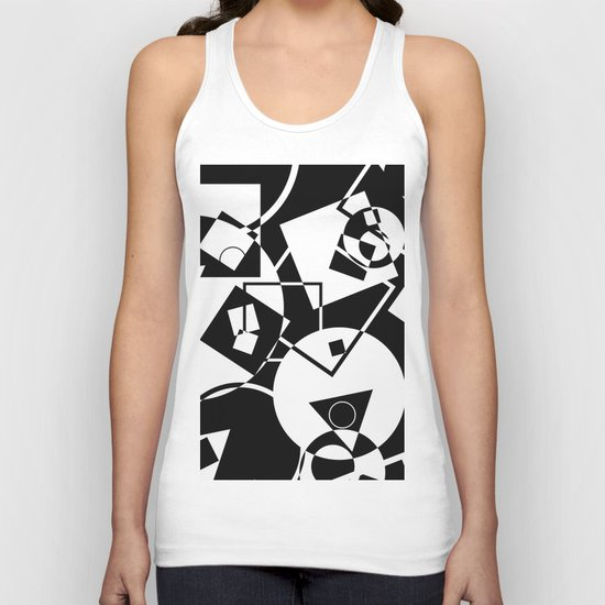 Simply Black And white - Abstract, geometric, retro, black and white random pattern Unisex Tank Top