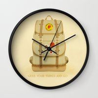 backpack Wall Clocks featuring PACK AND GO by Je Suis un Lapin