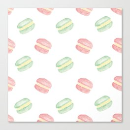 Pistachio and Rose Macarons Canvas Print