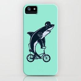 Shark on bike iPhone Case