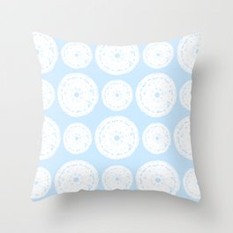 White Doilies Pattern w/ Baby Blue Background (Style 1) Throw Pillow