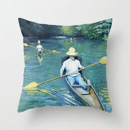 "Gustave Caillebotte ""Skiffs"" Throw Pillow"