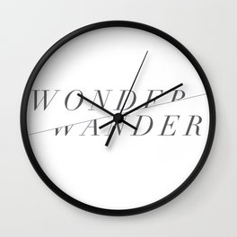 Wonder/Wander - White Wall Clock