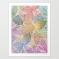 Colored Leaf Pattern Art Print