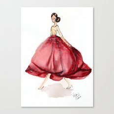 Red Fashion Watercolor Model Canvas Print