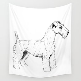 Wire Haired Fox Terrier Ink Drawing Wall Tapestry