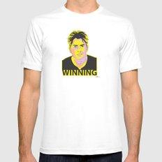 Charlie Sheen Winning_Ink Mens Fitted Tee MEDIUM White