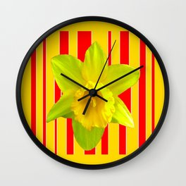 Yellow Daffodil Red-gold Abstract Design Art Wall Clock